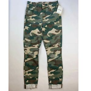 Mother Camouflage High Waisted Looker Frayed Skinn